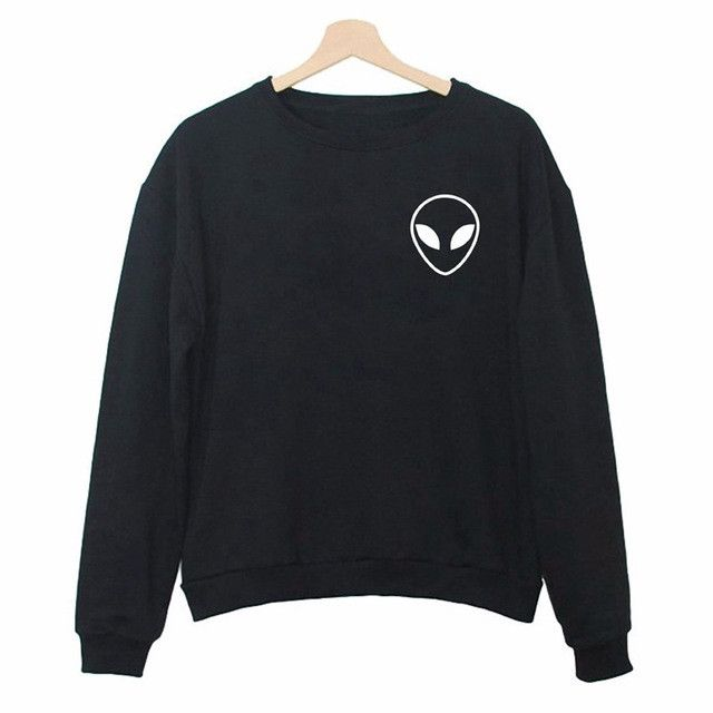 Kiwi 2016 New Casual Lady Harajuku Long Sleeve Street Hipster ET Head Hoodies Women Alien Sweatshirts Plus Size