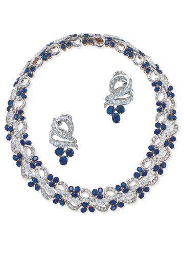 Garrard's - sapphire and diamonds set