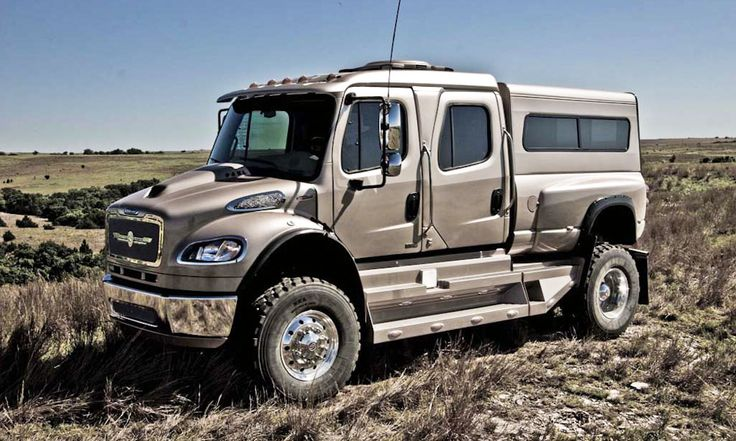 most outrageous SUVs on earth, Sport Chassis P4XL.  Turns Freightliner big-rig trucks into personal luxury SUVs for those with extreme towing & hauling needs or for those who simply think a suburban or an excursion are wimpy.