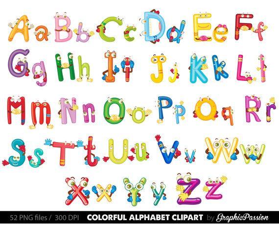 Alphabet clipart color alphabet Digital alphabet by GraphicPassion