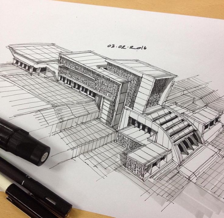 Modern Architecture Sketch 1363 best 3d hand drawn architectural images on pinterest