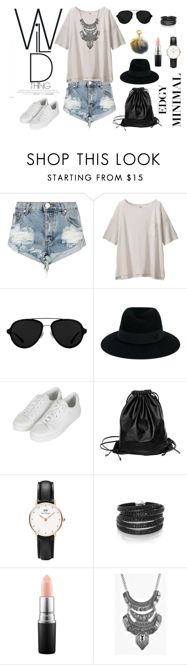 Wild thing by shop-styleloft on Polyvore featuring Uniqlo, One Teaspoon, Topshop, Xenab Lone, Sif Jakobs Jewellery, Daniel Wellington, Boohoo, Maison Michel, 3.1 Phillip Lim and MAC Cosmetics