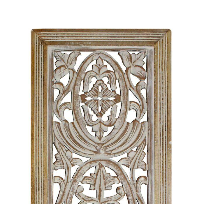 Rectangular Mango Wood Panel With Intricate Carving Wall Decor
