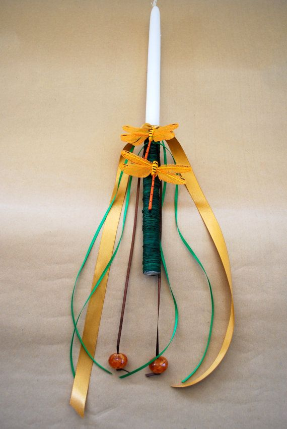 Dragonfly Collection Orange Easter Candle Lampada by LimaniDesigns, $15.00