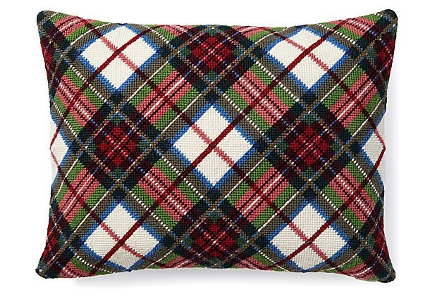 One Kings Lane - 'Tis the Season - Tartan 12x16 Needlepoint Pillow, Red.  LIBRARY CHAIRS.