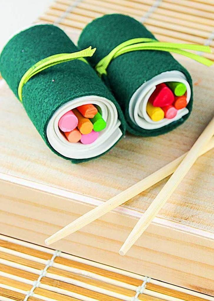 Make organization fun with our sushi crayon roll-up DIY project! This is great for back-to-school season, when school supplies seem to constantly be on the loose. Our downloadable templates make this a fun DIY project for the whole family