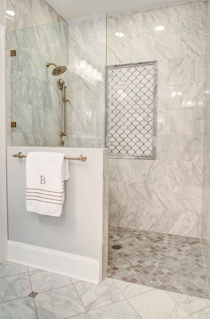 this fabulous shower features a curbless doorless entry