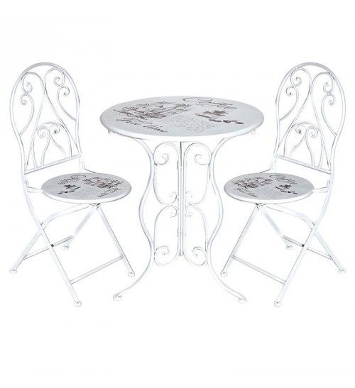 S_3 METAL TABLE W_2 CHAIRS IN WHITE COLOR 'COFFEE' D60X70