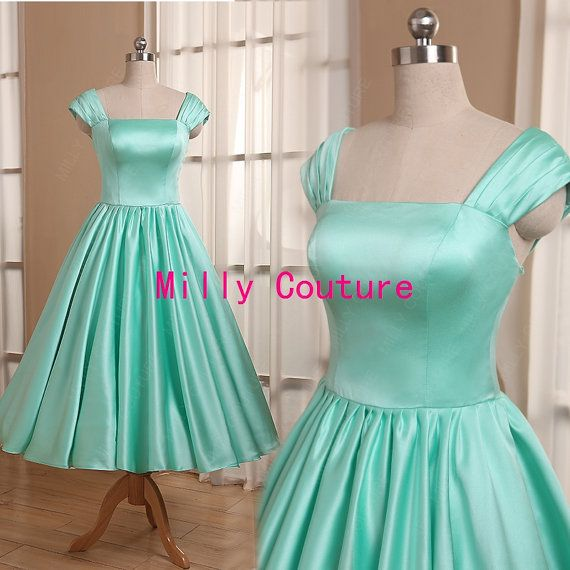 Hey, I found this really awesome Etsy listing at https://www.etsy.com/listing/203476833/mint-green-1950s-bridesmaid-dress-cap
