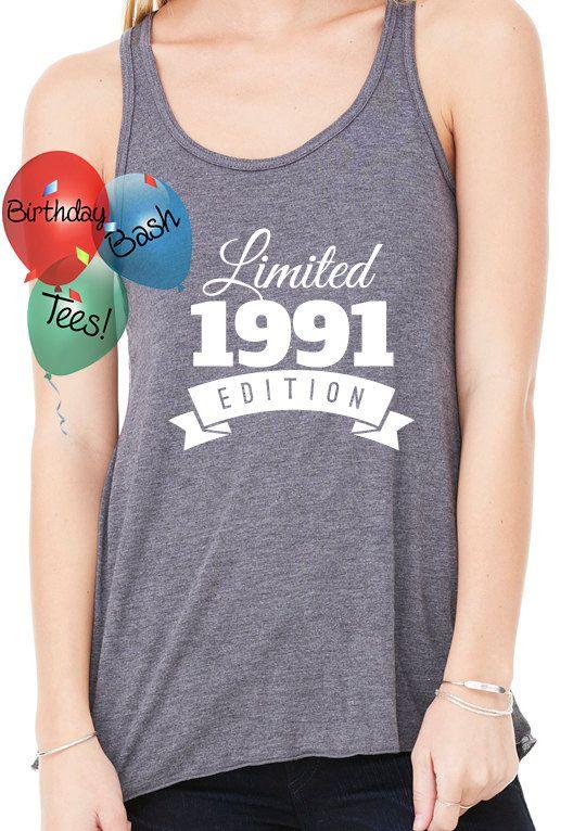 Birthday Gift Ideas for Girlfriend 1991 Birthday Present for Her 25th Birthday Racerback Tank Top Workout Wear Surprise Best Friend 1991