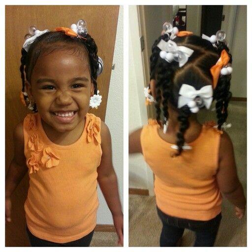 Orange and white. Mixed baby hairstyles
