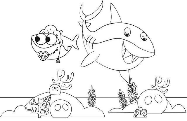 Cute Pinkfong Baby Shark Coloring Page In 2020 Shark Coloring