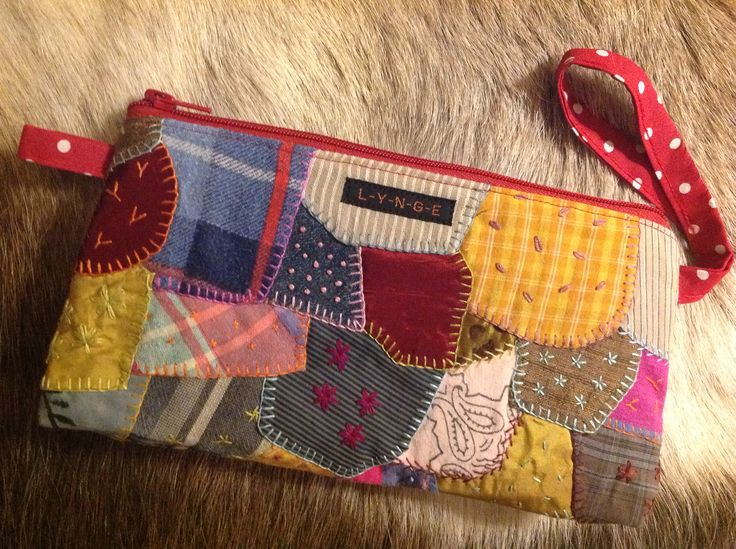Crazy quilt clutch - sewn from old  family clothes