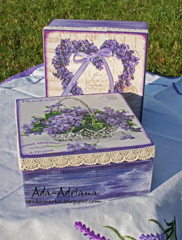 decoupage, hand made, lawenda, pudełko, pudełka, na urodziny, prezent, na herbatę