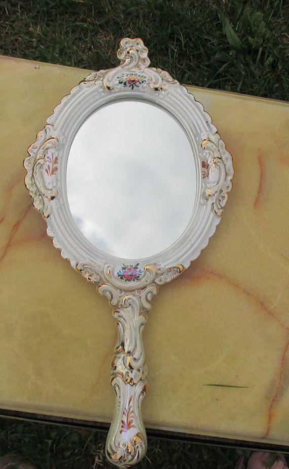 Vintage Italian Bassano Hand Mirror Ceramics Ornate by Tweedeleven
