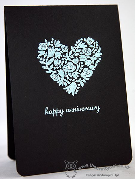 One Layer Happy Anniversary - Back on Black! Anniversary, Wedding, Flowerfull Heart, heat embossing, Express Yourself, Joanne James UK independent Stampin' Up! demonstrator, blog.thecraftyowl.co.uk