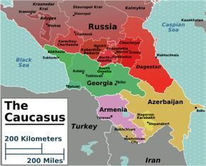 Caucasus. Geographically it is usually considered part of Western Asia, adjacent to northeastern Turkey and northwestern Iran. But culturally, this portion of Russia and these small former Soviet republics are also part of Eastern Europe suffering from the same ethnic-nationalism and tension that has plagued the Balkans including recent wars in Georgia, Azerbaijan and Chechnya