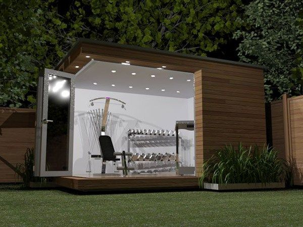 This homeowner added a small prefab shed in the backyard -- creating a workout oasis at an affordable price.