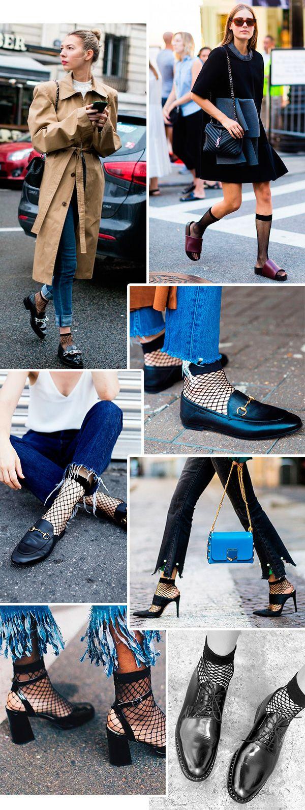 meias fishnet (meia arrastão) estão em alta no street style