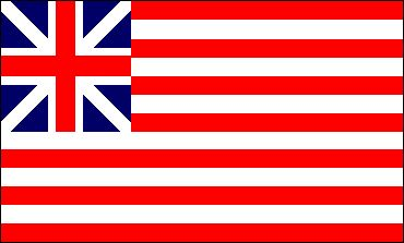 """Grand Union Flag which was raised by George Washington at Cambridge Massachusetts on the 1st of January, 1776.  Colonel Thomas Gardner died of wounds received at the Battle of Bunker Hill and would, of course, never have seen this flag.  His troops however, serving under General Nathaniel Greene    certainly have been familiar with this """"First Flag""""."""