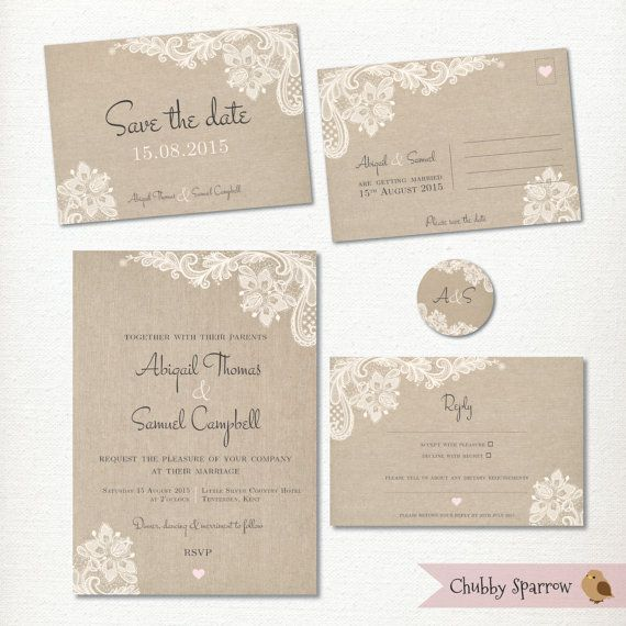 Wedding Invitation Save the Date Postcard Lace by ChubbySparrow