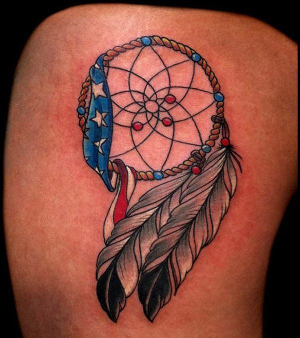 dreamcatcher with american flag tattoo - 25 Awesome American Flag Tattoo Designs  <3 <3