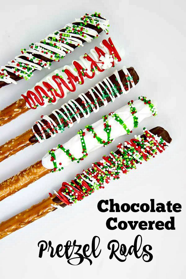 "Chocolate Covered Pretzel Rods are so fun and simple to make. They're the easiest ""Christmas cookie"" out there and everyone loves them!"