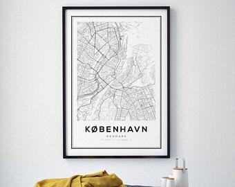 Copenhagen Karte drucken, skandinavischen Print, schwarz / weiß-Karte, Dänemark Karte drucken, Copenhagen Karte Poster, Stadt Karte drucken, Affiche Scandinave