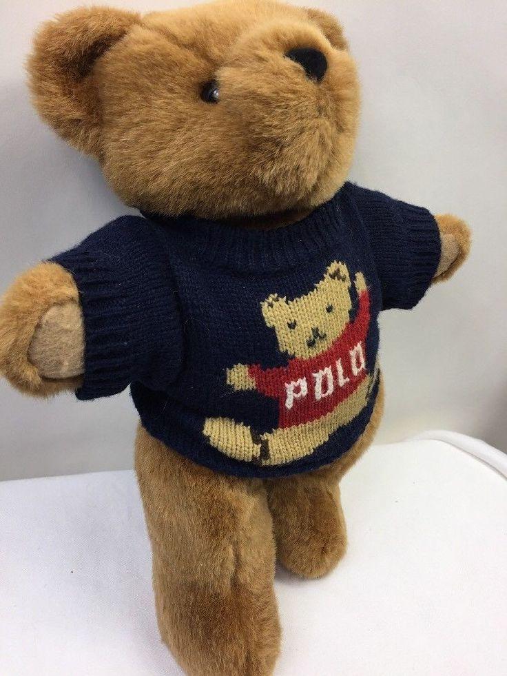 Polo Ralph Lauren Teddy Bear 1997 Jointed Navy Blue Sweater Brown Plush Stuffed #RalphLauren #AllOccasion
