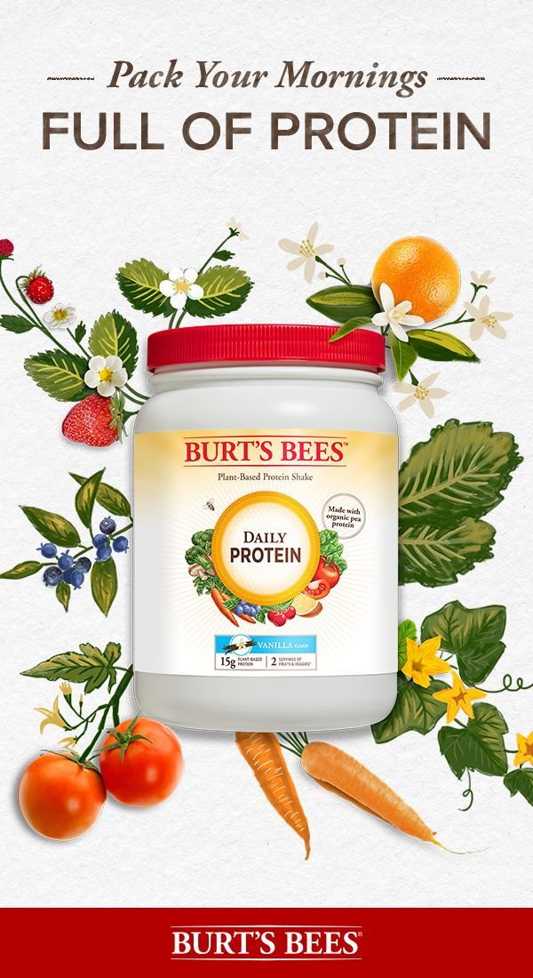 Start your day off right with Burt's Bees Daily Protein Powder. One scoop contains 15 grams of plant-based protein and was crafted with the perfect mix of vitamins from fruits and vegetables to give your morning shake a nutritional boost. It's also non-GMO, gluten-free, soy-free, dairy-free, and made without artificial sweeteners or flavors. An easy way to achieve a balance of nutrients to feed your body and your lifestyle.