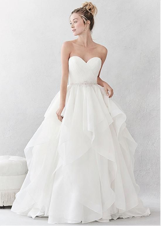 Magbridal Stunning Organza & Satin Sweetheart Neckline A-Line Wedding Dresses With Beadings