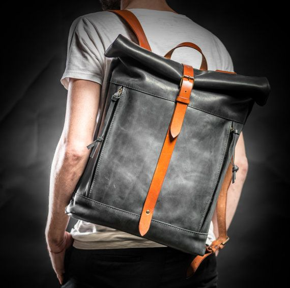 Leather backpack Roll top backpack by Kruk by KrukGarageAtelier  http://ebagsbackpack.tumblr.com/