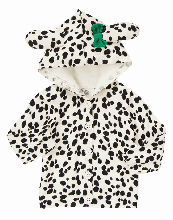 Dalmatian Sweater Hoodie Pretty little puppy! Super cute Dalmatian print sweater has 3-D ears and a bright bow on the hood. 100% cotton Features 3-D ears and bow Buttons in front for easy dressing Machine washable; imported Collection Name: Fancy Dalmatian FITS: Regular Prices may varyCOLOR:  Ivory Dalmatian Ivory Dalmatian  Size ChartSIZE:  5T 3-6 mos6-12 mos12-18 mos18-24 mos2T3T4T5T