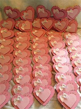 Rosa hjerte bordkort,konfirmasjon,barnedåp,dåp