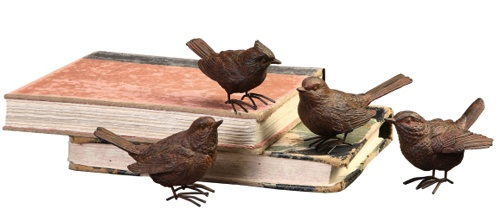 "3-3/4""H resin BIRDS w/metal FEET rust FINISH set of 4"