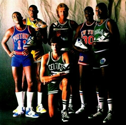 Team Converse: Pistons point guard Isiah Thomas, Lakers point guard Magic Johnson, Celtics forwards Larry Bird and Kevin McHale, Knicks small forward Bernard King, and Mavericks small forward Mark Aguirre.