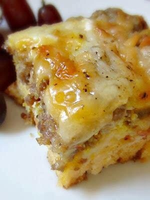 Breakfast Bake 1 can buttermilk biscuits 1 lb ground sausage 2 c. shredded cheese 6 eggs 3/4 c. milk Cut up biscuits and place them in a greased dish.  Cook sausage and spread over biscuits.  Mix eggs and milk. Pour over sausage. Topped with cheese.  Bake at 425 for 30-35 minutes.