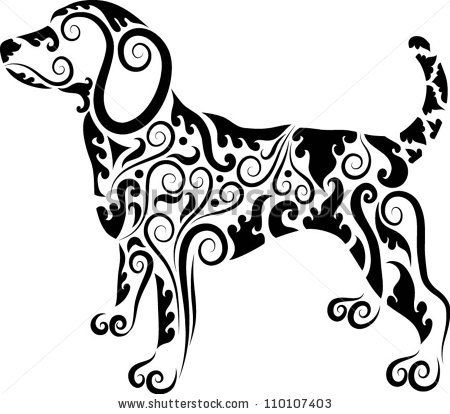 Dog Ornaments. Animal drawing with floral ornament decoration. Use for tattoo, t-shirt or any design. by ComicVector703, via ShutterStock