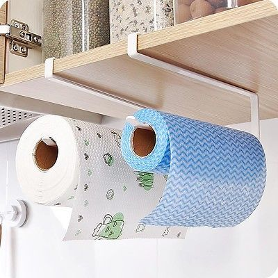 Kitchen Roll Paper Rack Hanging Holder Cabinet Cupboard Plastic Wrap Organizer B