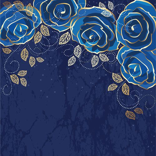 Beautiful blue rose vintage background vector 01