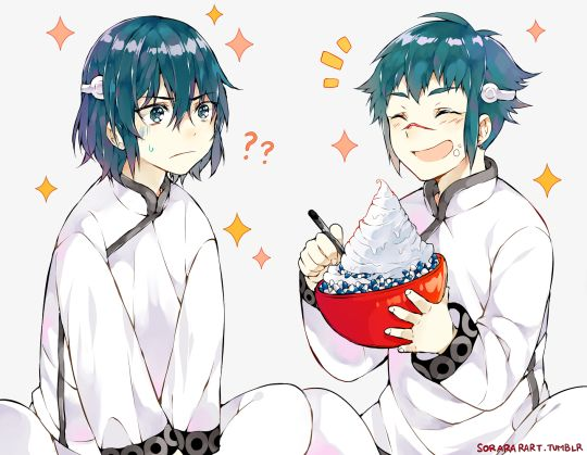 Kanda and Alma <3 D. Gray Man no that's not a pile of whipping cream it's probably mayo