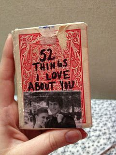 """""""52 things I love about you"""" written on each card in a deck"""