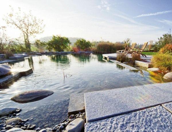 Schwimmteich Garten Flusssteine moderne Design Ideen