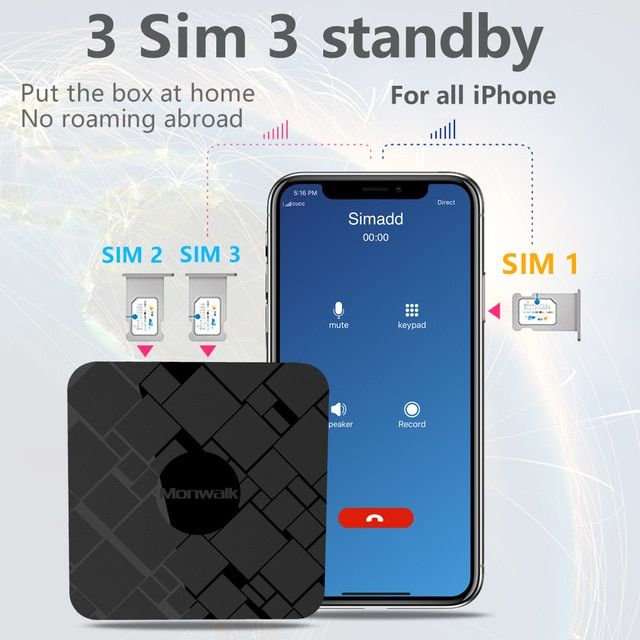 No Roaming Abroad Simadd 3 Sim 3 Standby Activate Online At The Same Time For Iphone 6 7 8 X Ios 7 12 Sim At Home No Need Carry Review Iphone Sims Iphone 6