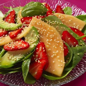 Nutty and slightly sweet sherry vinegar is a natural partner for strawberries. This composed salad makes a cool kickoff for dinner or a nutrition-packed lunch on its own.