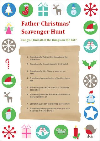 Father Christmas' Scavenger Hunt idea. Adapt the list and let the children at the Christmas Fair search for various clues around the venue. A completed form gets a small prize.