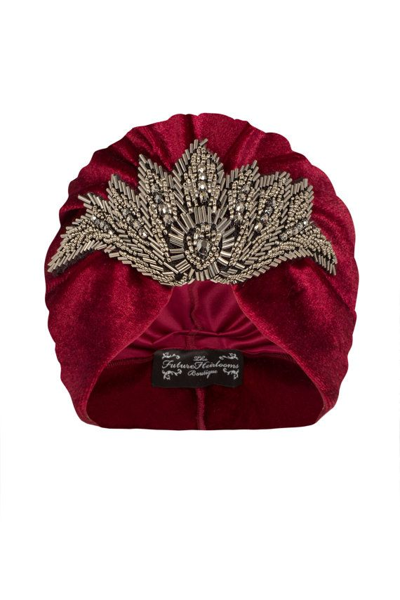 Red Velvet Turban with Gunmetal Bead Applique por TheFHBoutique