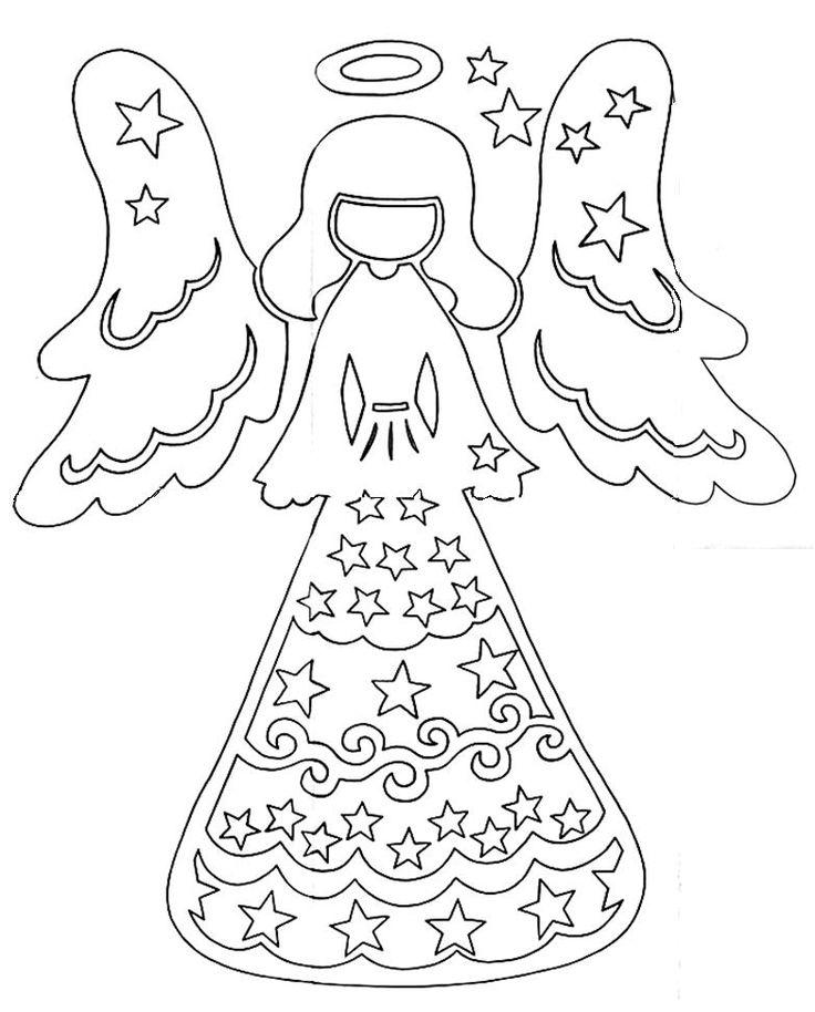 DIY: Christmas Angel. Free stencil/template/pattern. Paper