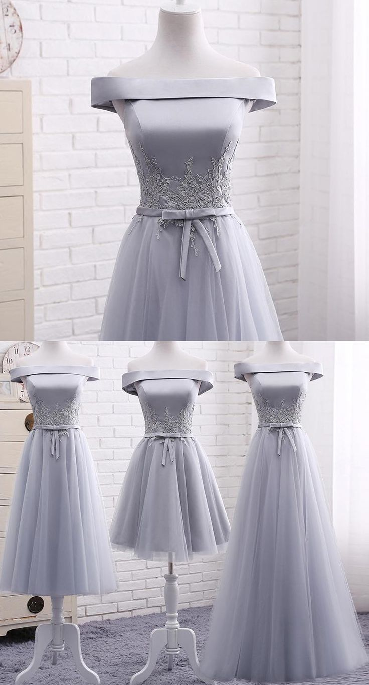 Long Grey Bridesmaid Dresses, Long Bridesmaid Dresses, Tulle Bridesmaid Dresses, Short Bridesmaid Dresses, Grey Bridesmaid Dresses, Bridesmaid Dresses Short, Long Grey dresses, Long Bridesmaid Dresses Off-the-shoulder Appliques Tulle Bridesmaid Dresses