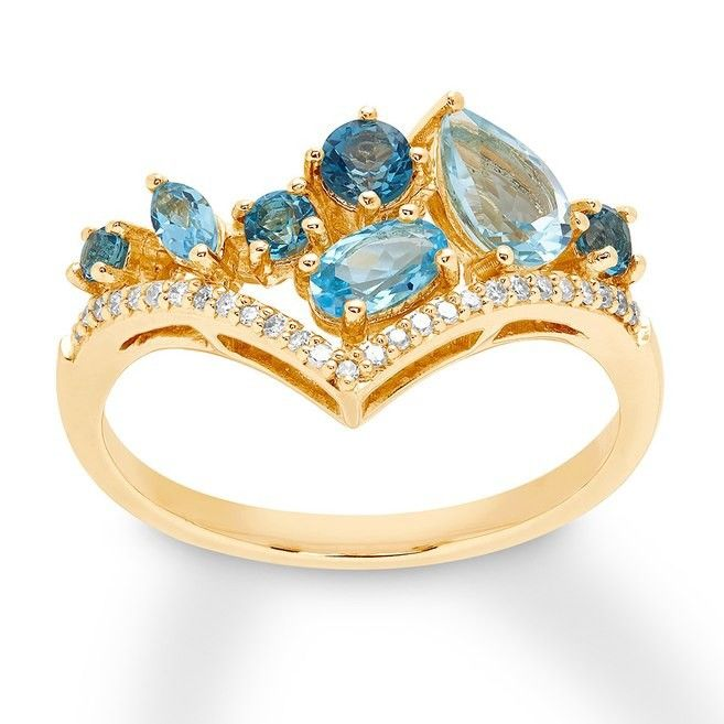 Blue Topaz Chevron Ring 1 15 Ct Tw Diamonds 10k Yellow Gold 449 Chevron Ring Chic Rings Blue Topaz
